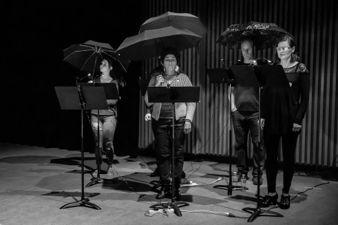 The Postmodern Camerata singers prepare for storm. Photo Michelle Doherty, Diamond's Edge Photography