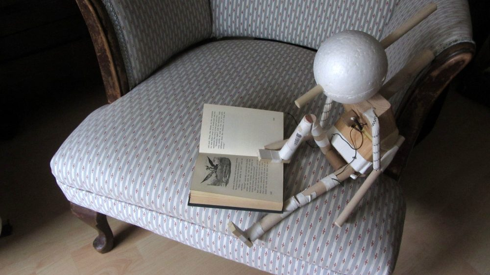 Walkable puppet reading a book, by Kris Fleerackers