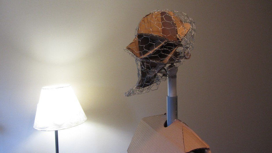 chicken wire head puppet giant cardboard Aeneas