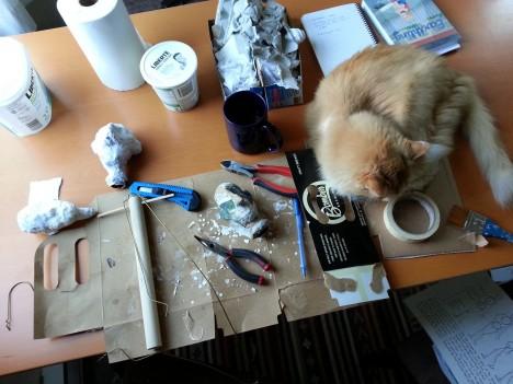 cat puppetry paper maché puppet construction help pet