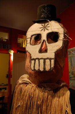 Belgian giant puppet disguised as Baron Samedi