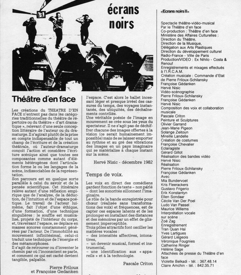 Écrans noirs by French company Théatre d'en Face