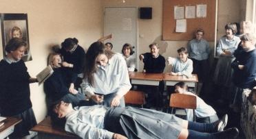 Theatre exercises in a high school classroom, Antwerp, Belgium