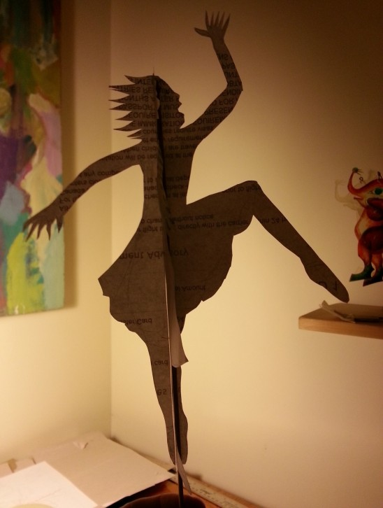 shadow play dancing girl paper