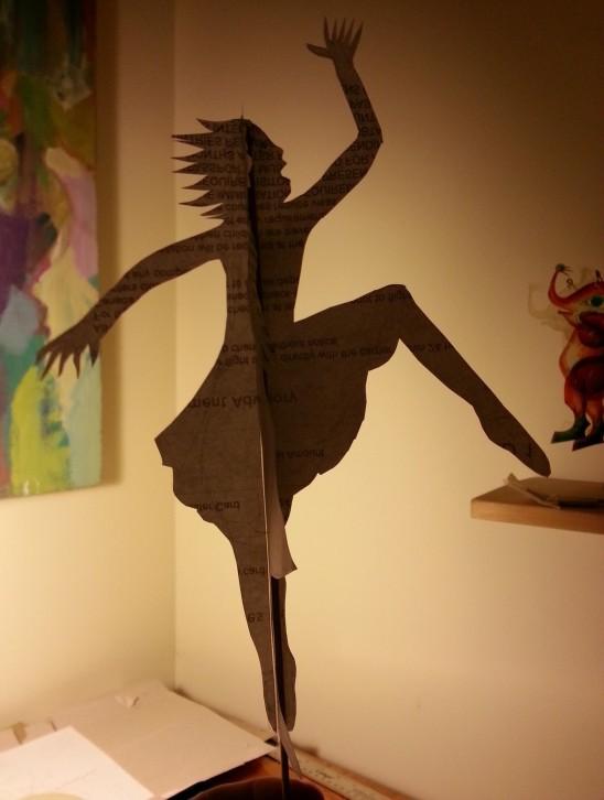 shadow play dancing girl paper